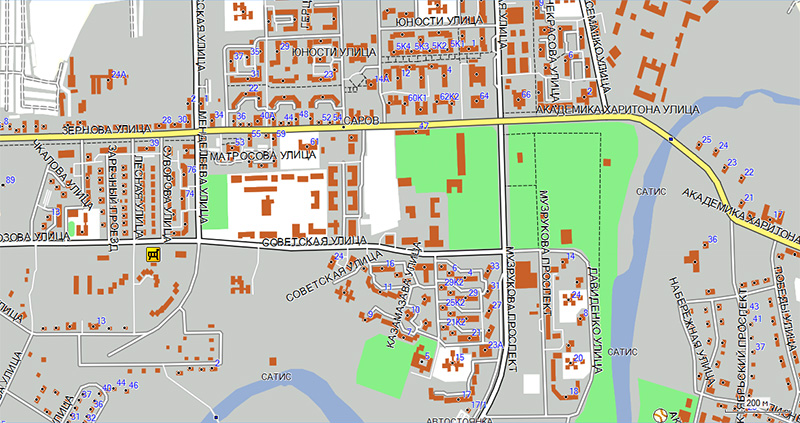 карта с улицами и домами актуальна Постоянным