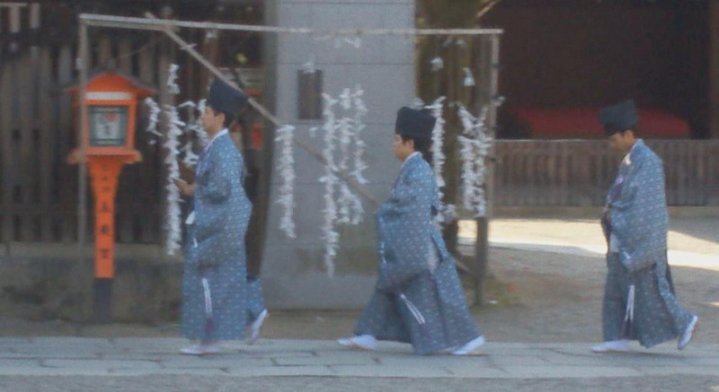 Kyoto, Yasaka shrine - Shinto priests